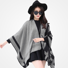 2016 New Fashion Black Scarves Women Winter Brand cachecol Gradual Scarfs Foulard Femme Designer patchwork shawls Scarf Pashmina(China (Mainland))