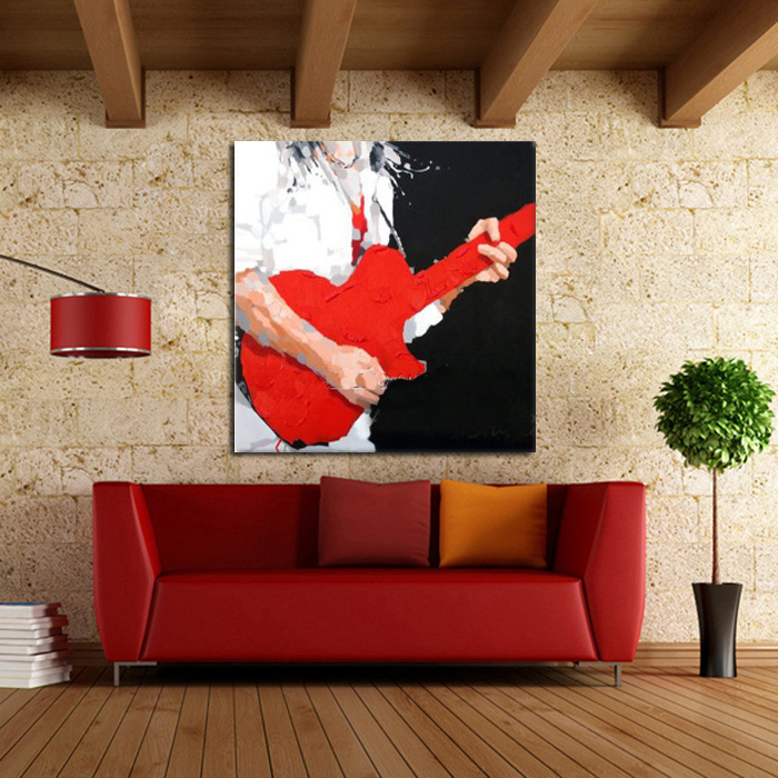 Free Shipping Handpainted Modern Cartoon Modern Abstract Red Guitar Pop Oil Painting On Canvas Wall Art For HomeDecor Pictures(China (Mainland))