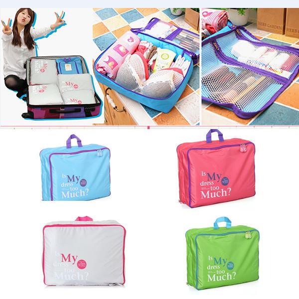 5Psc/Set Nylon Portable Travel Pouch Luggage Handbag Multifunction Organizer Bag For Clothing Storage(China (Mainland))