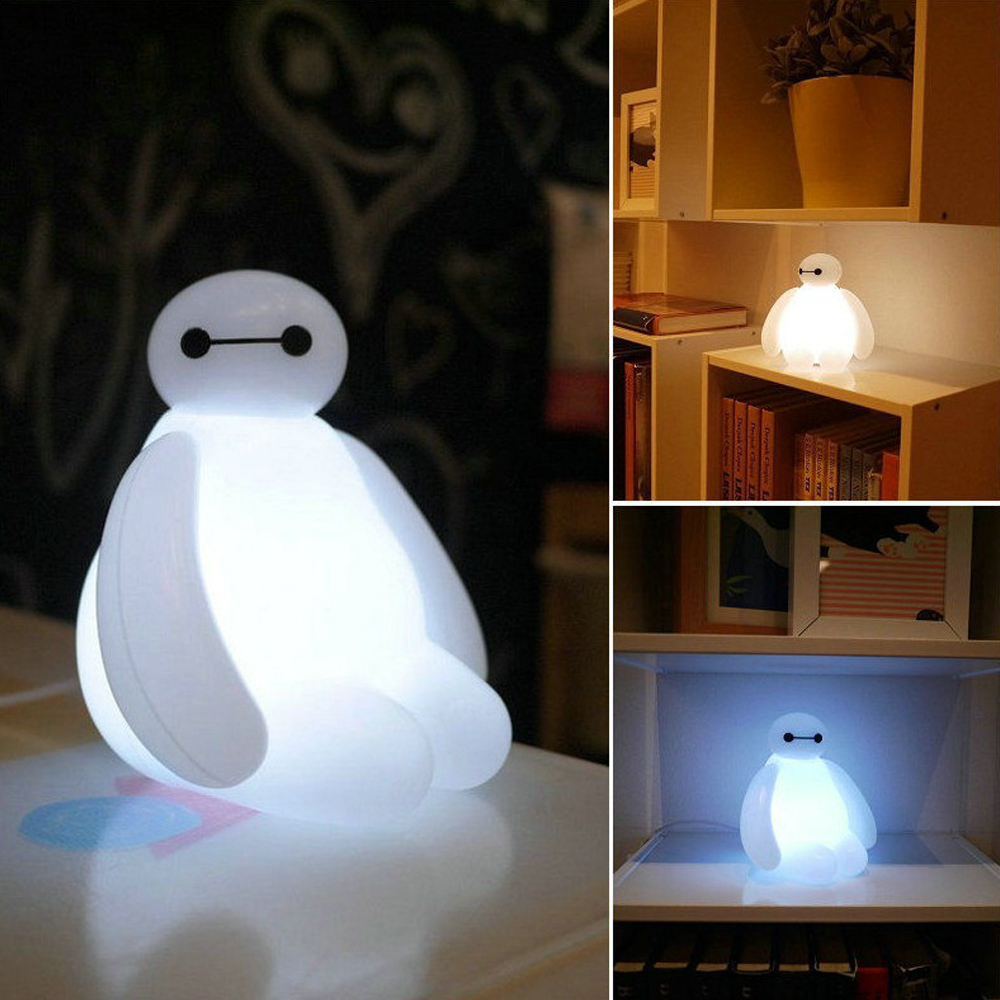 big hero 6 cartoon baymax led night light white cute table lamp bedroom decoration amazing kids. Black Bedroom Furniture Sets. Home Design Ideas