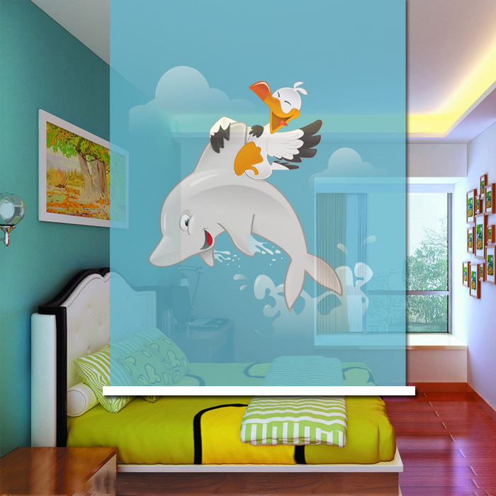 Lovely Cute Cartoon Dolphin Babyroom Roller Shade Multi Size Available Custom vertical blinds(China (Mainland))