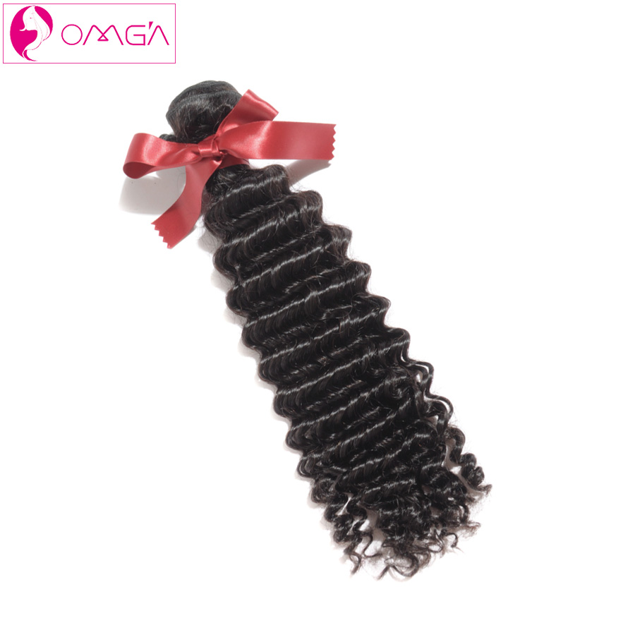 OMGA Peruvian Virgin Hair Deep Wave 1 Piece Only 100g/piece Peruvian Deep Wave Human Hair Weaves 1B 7a Grade Freeshipping(China (Mainland))