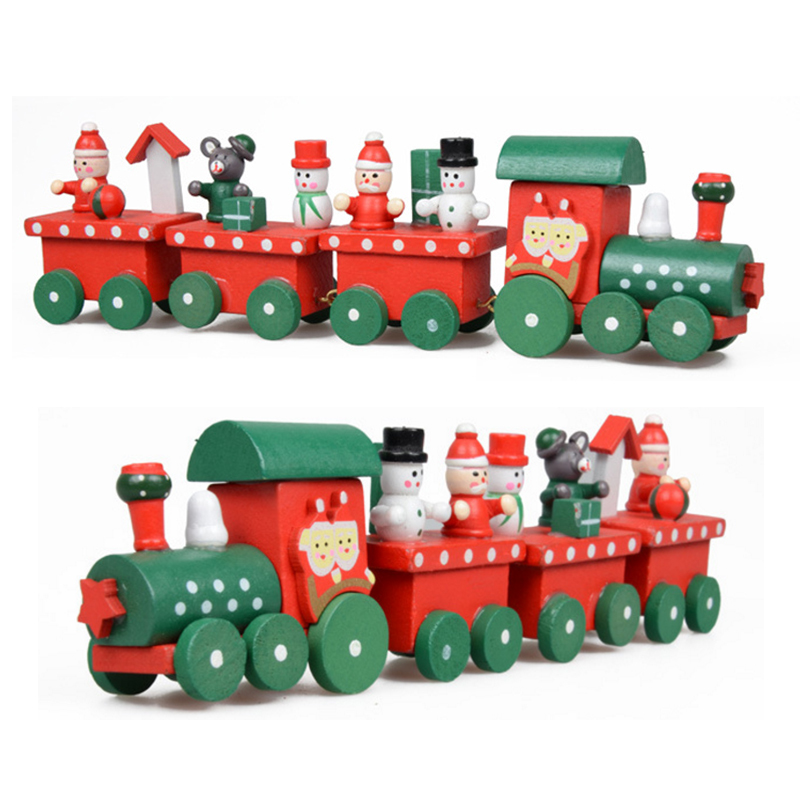 1 Set Kids Baby New Lovely Painted Wooden 4 Piece Little Train Models Blocks Children Christmas Ornament Decoration Toys Gifts(China (Mainland))