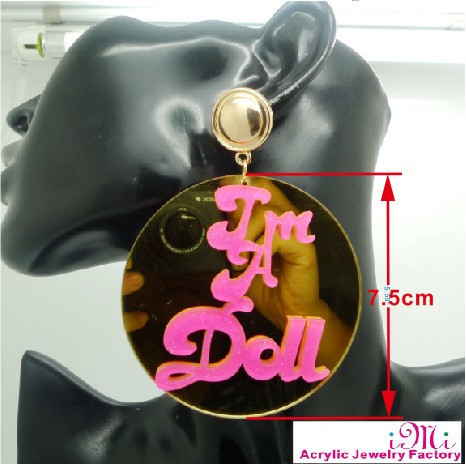 4E Round mirror Basketball Wives Gold Acrylic Round I AM A DOLL Stud Earring<br><br>Aliexpress
