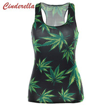 Women T-Shirt Brand Sleeveless Green Hemp Leaf Printed Gothic Female Punk Vests Blouse Club Wear Tees Cropped Summer