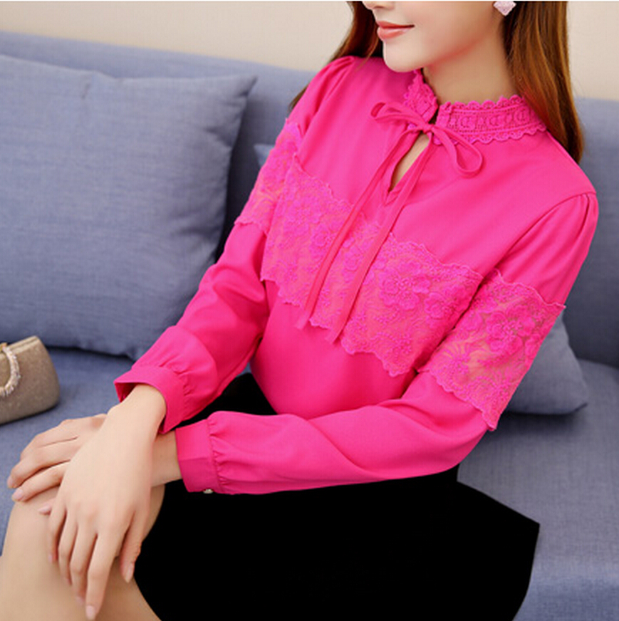 2016 Fashion New Summer Bow Lace Shirts Blouses Long Sleeve Formal Patchwork Rose White Pink Blue Cany Color Tops(China (Mainland))