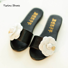 2015 summer shoes for children girls sandals kids slides for baby flower sandals for girls beach sandals girls cc white black(China (Mainland))