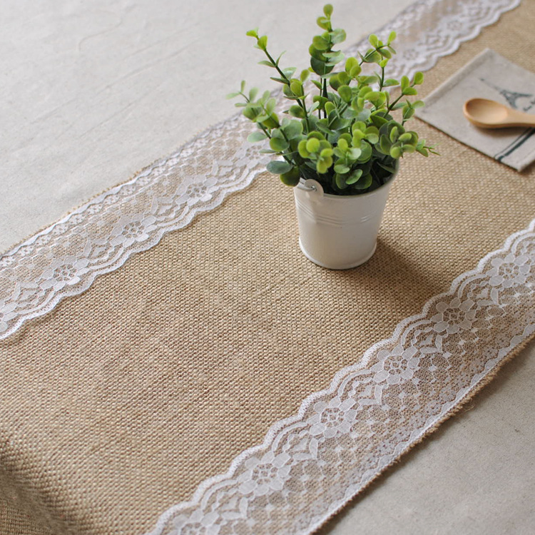 Fashion Europe type restoring ancient ways khaki linen lace decoration table flag Coffee bar scene lace table runner table cloth(China (Mainland))