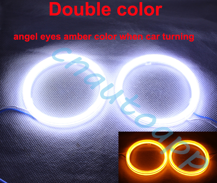Double Color Angel Eyes COB DRL Light Led Ring For Car Headlights Motorcycle And Electric Vehicle 60MM X 2PCS(China (Mainland))