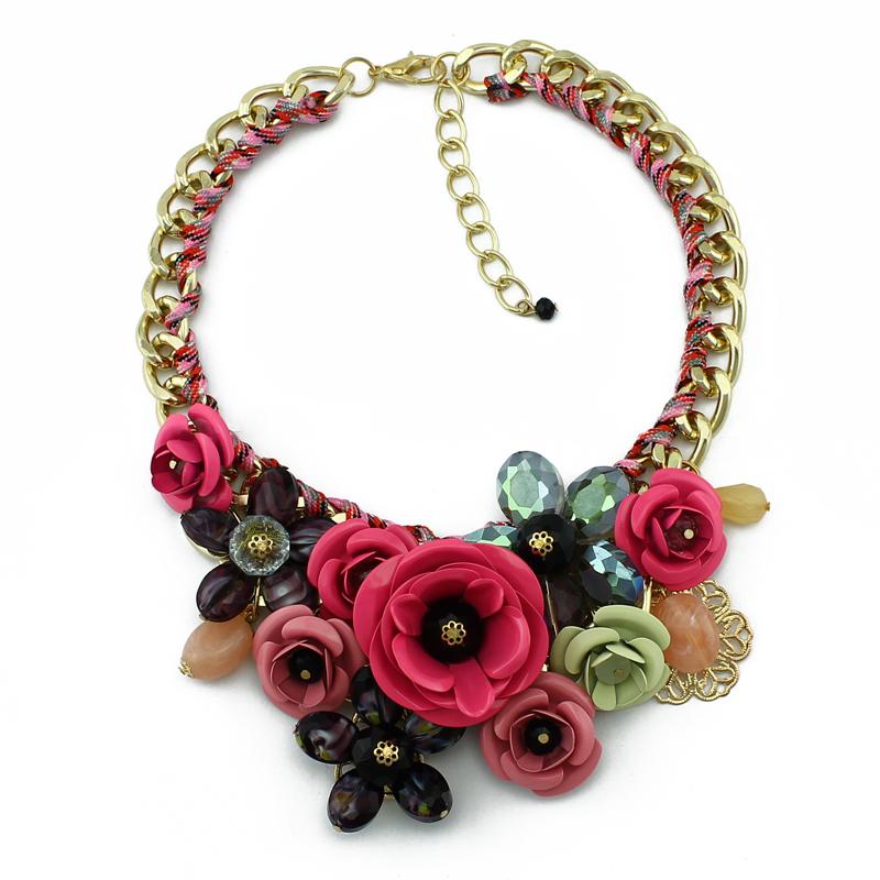2014 New Design Brand Paint Metal Flower Necklace Luxury Women jewelry Crystal Necklaces & Pendants()