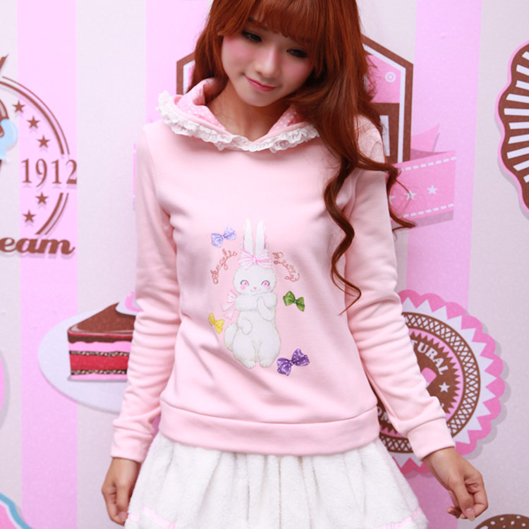 2016 New Winter Fleece lined Bunny Ears Hoodie Sweet Lolita Kawaii Rabbit Pullovers Women Soft Cute Cotton Girls White,Pink Tops(China (Mainland))