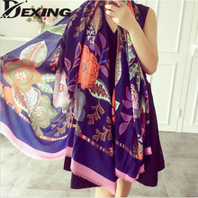 [Dexing]2016 new scarf spring summer women's Design Print scarf long shawl printed cape Polyester chiffon tippet muffler Scarves(China (Mainland))