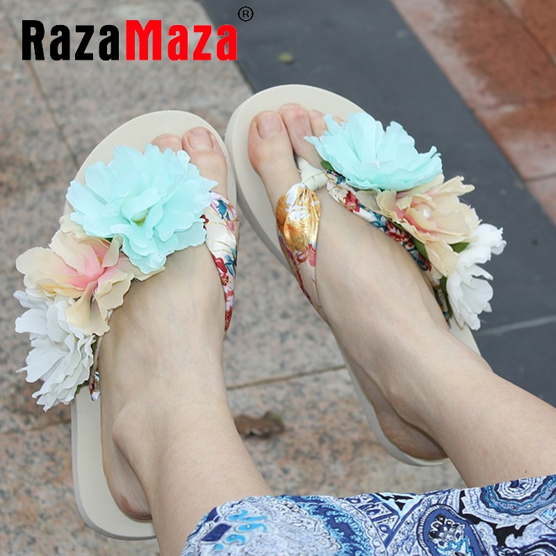 women bohemia girl quality flat slippers sandals flower brand sexy fashion ladies heeled footwear heels shoes size 35-39 P17827