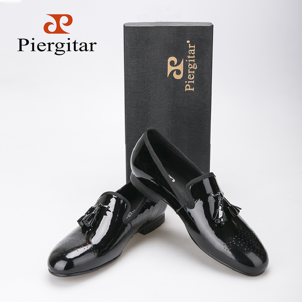 2015 Piergitar New arrival Black Patent Leather Loafer with tassels US size 6-13 Free Shipping<br><br>Aliexpress