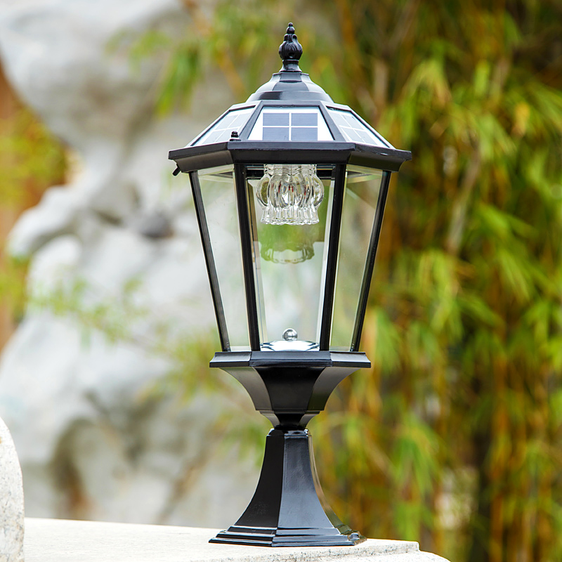 2w outdoor solar powered rechargeable pillar lamps chapiter lights