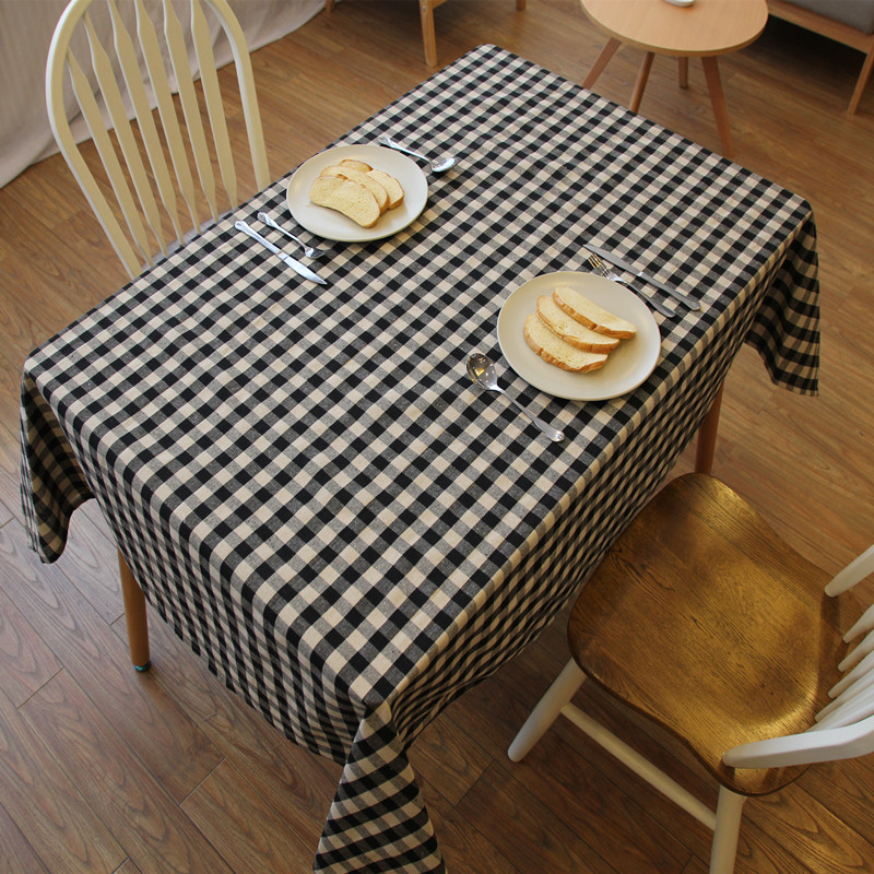 High quality round square tablecloth black and red two colored table rectangle cotton linen table cover(China (Mainland))