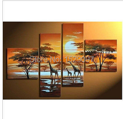 framed! 100% hand painted oil painting on canvas--African giraffe painting(China (Mainland))