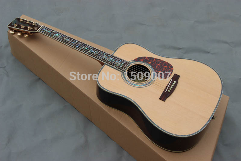 Dreadnought Guitar, Flower Inlay + AAA Solid Spruce + Best AAA Acoustic Guitar / acoustic electric(China (Mainland))