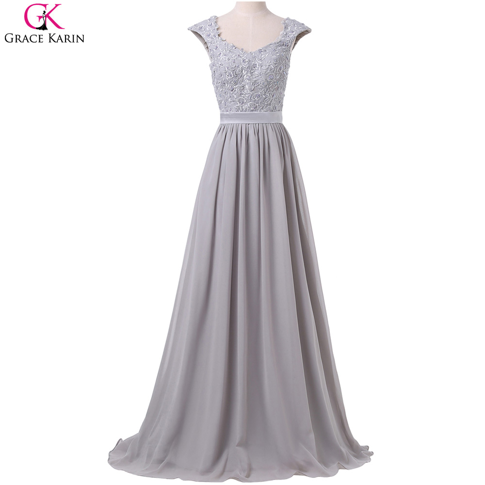 Bridesmaid dresses grace karin sleeveless lace chiffon for Formal long dresses for weddings