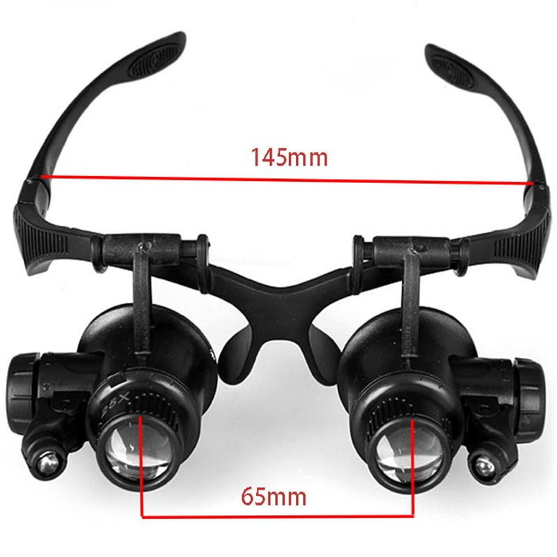 New 9892GJ 10X 15X 20X 25X LED Magnifier Double Eye ...