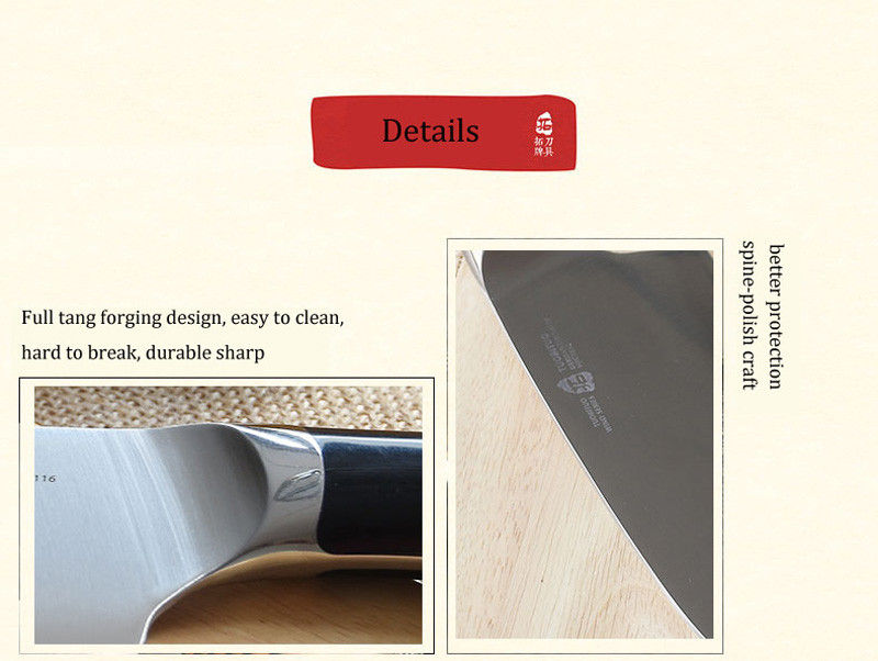 Buy TUO Brand Very sharp 7.5'' Cleaver cutter meat knife Germany X50 steel heavy chefs knife for master very comfatable to use cheap