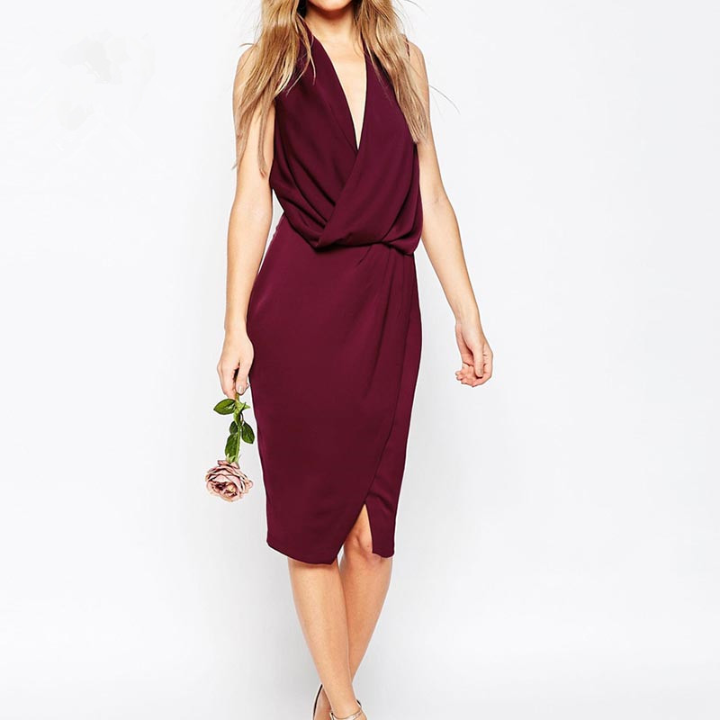The new summer fashion V-neck low-cut dress sexy club fashion slim sleeveless one-piece dress free shipping(China (Mainland))