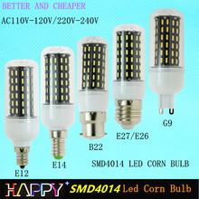 Real No Flicker/Strobe Smart Power IC AC220V 240V B22 E27 E26 LED Corn Bulb 4014 SMD AC110V 120V G9 E12 LED Spot light Lamp(China (Mainland))