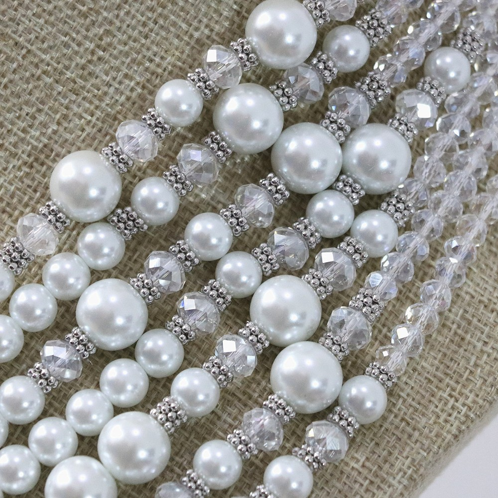 Anniversary 7 rows necklace earrings white round shell simulated-pearl rhinestone crystal abacus elegant jewelry B1296