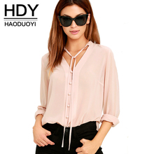 Buy HDY Haoduoyi Solid Color Fashion Women Shirts Single Breasted V Neck Long Sleeve Blouse Casual Brief Style Female Chiffon Shirt for $11.17 in AliExpress store
