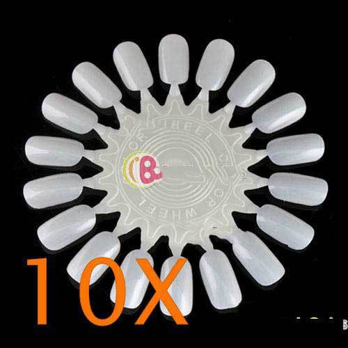 BuyTium Shop 10X False Nail Tips Art Display Practice Wheel Board #3(China (Mainland))