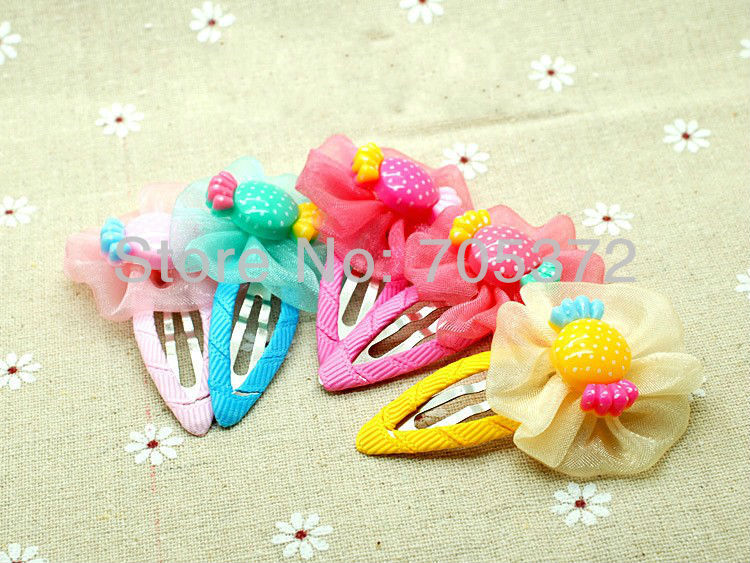 20Pcs/Lot Girls Beautiful 4cm Hair Clip Lovely Fabric Resin Candy Flower Hair Clip Claws Princess Hari Accessories Free Shipping(China (Mainland))