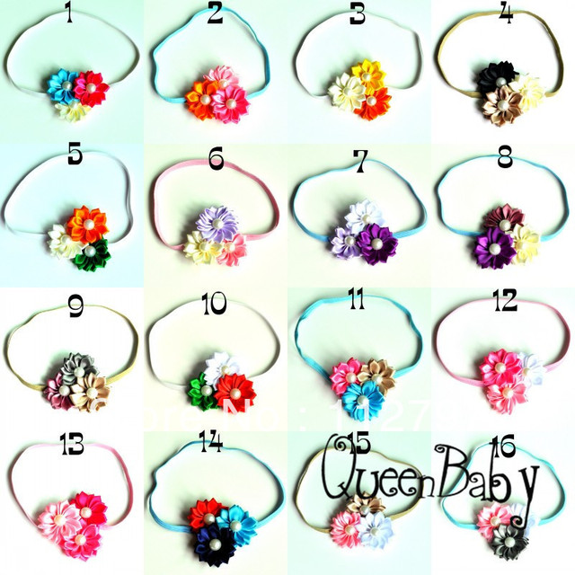 Trail Order Triple Satin Ribbon Flowers Mixcolor  With On Elastic Headbands Hairbow Headbands 40pcs/lot