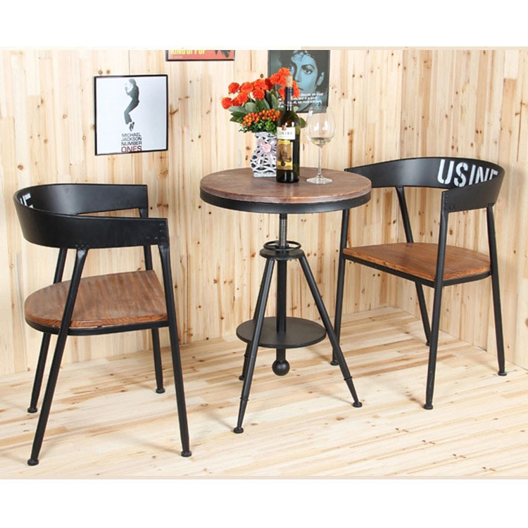 Creative fashion round tea table wood outdoor casual cafe tea shop wrought iron coffee tables Tables for coffee shop