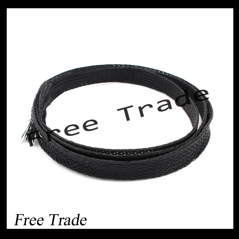 Free Shipping! 10m 8mm Dia General Wire Protection Black PET Nylon Braided Cable Sleeve(China (Mainland))