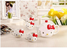 Free Shipping,5pieces/lot  High Quality Hello Kitty Tea Pot Set,Drinkware Tea Kettle ,Novelty Tea Set,Tea Pot,Porcelain Tea Set