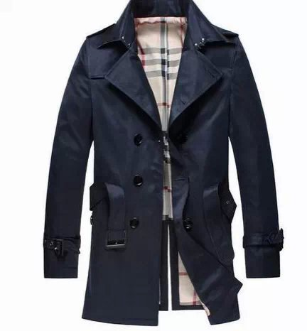 High quality 2015 British Style Trench Coat Men Classic Double Breasted Medium Long Famous Brand Mens Burbe Trench Coat Overcoat(China (Mainland))