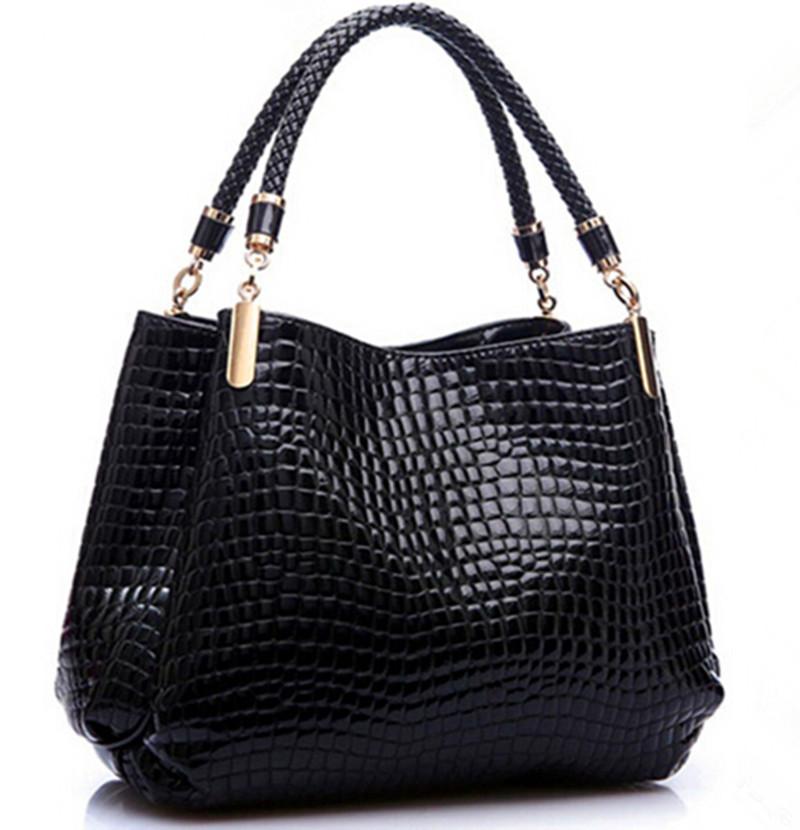 New Fashion Brand Leather Women Crossbody Bags Shoulder Bag Female Tote Crocodile Bag Plaid Chains Black Messenger Bags(China (Mainland))