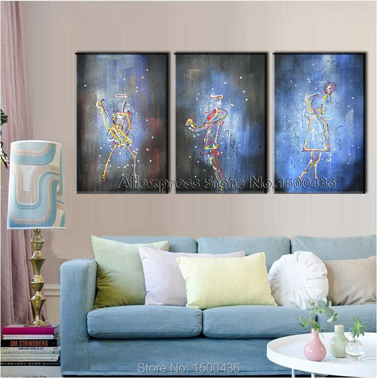 Modern Plastic Wall Decor : Aliexpress buy hand painted modern music picture on