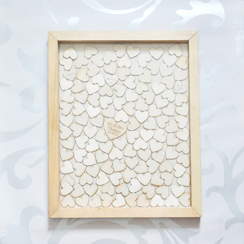 Personalised Wedding Guest book, Custom Drop top Drop box wedding alternative GuestBook with 130 hearts, Rustic Wedding Gift(China (Mainland))