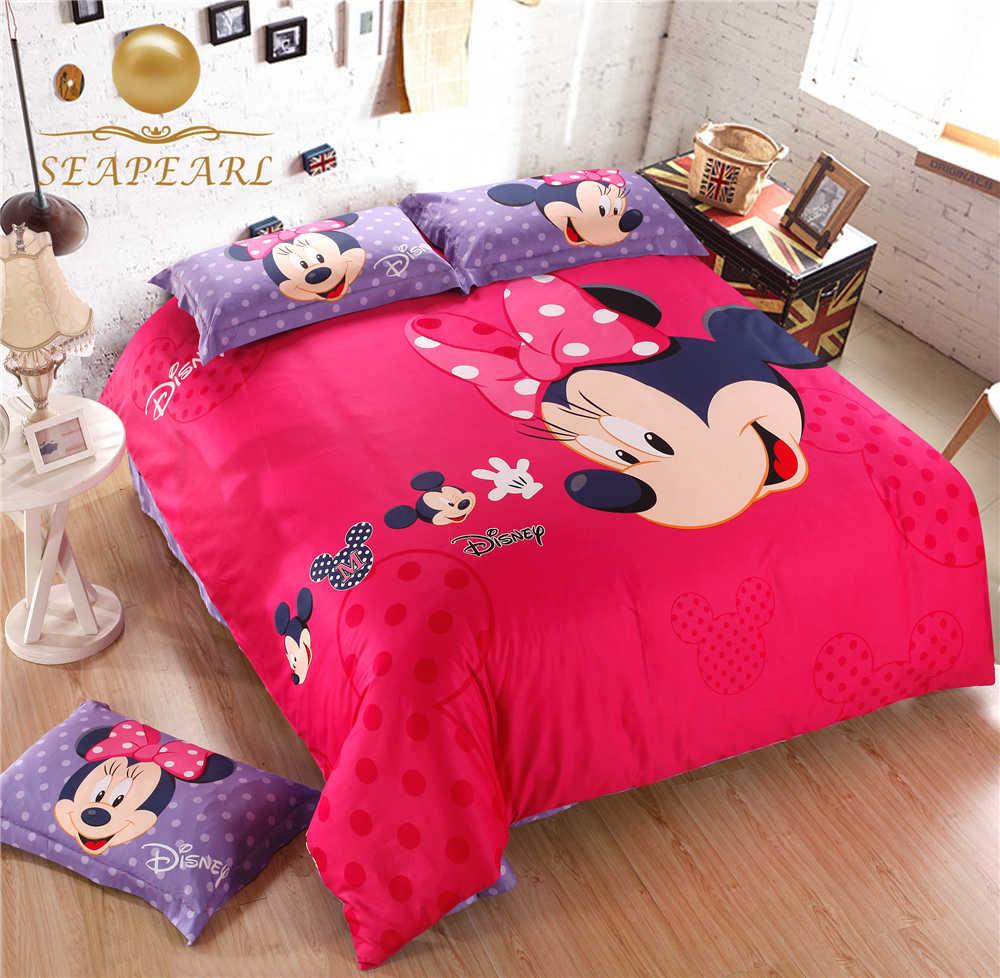 Girls bedding red - Cartoon Cute Mouse King Queen Full Size Cotton Girl Bedding Set 4 Pcs Set Duvet Cover Sheet 2 Pillow Case Children Red