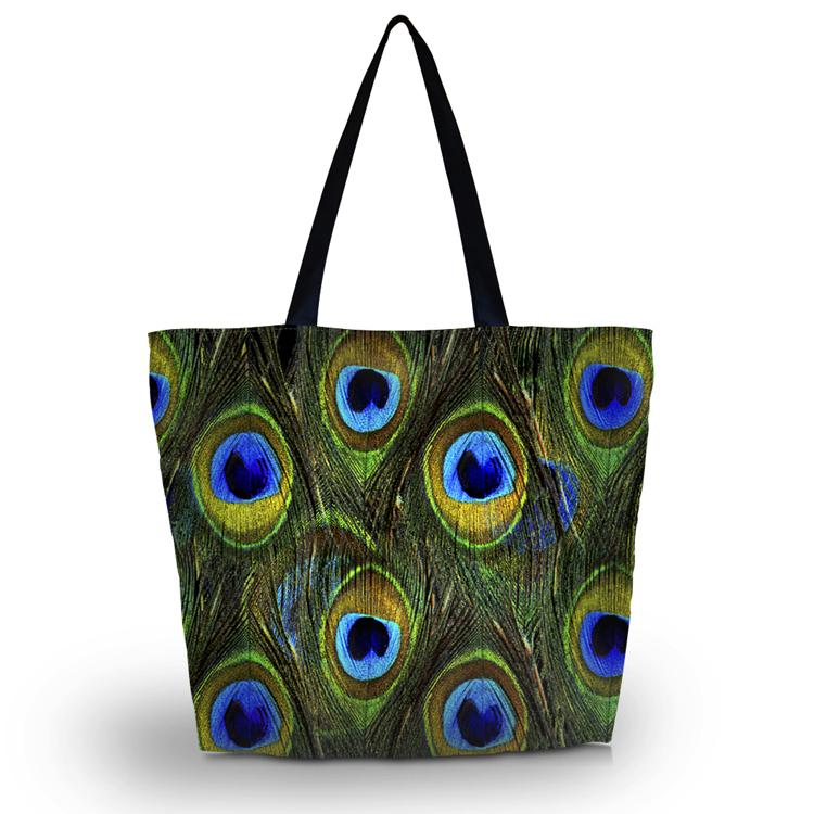 Peacock Fether Soft Foldable Tote Womens Shopping Bag Shoulder Bag Lady Handbag<br><br>Aliexpress