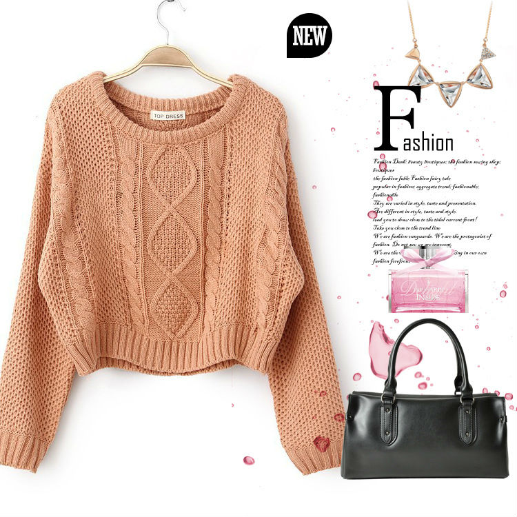 High quality new winter of 2014 Han edition retro sets short twist H0594# knitting women sweaters(China (Mainland))