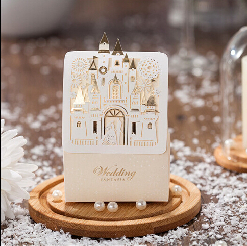 Romantic Castle Favors And Gifts Baby Shower Elegant White Luxury Decoration Laser Cut Party Wedding Paper Candy Box For Guest(China (Mainland))