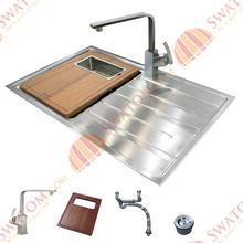31-1/2-Inch 12mm-Thickness Stainless Steel Undermount Drop in Single Bowl Kitchen Sink Free Accessories, handmade Sink