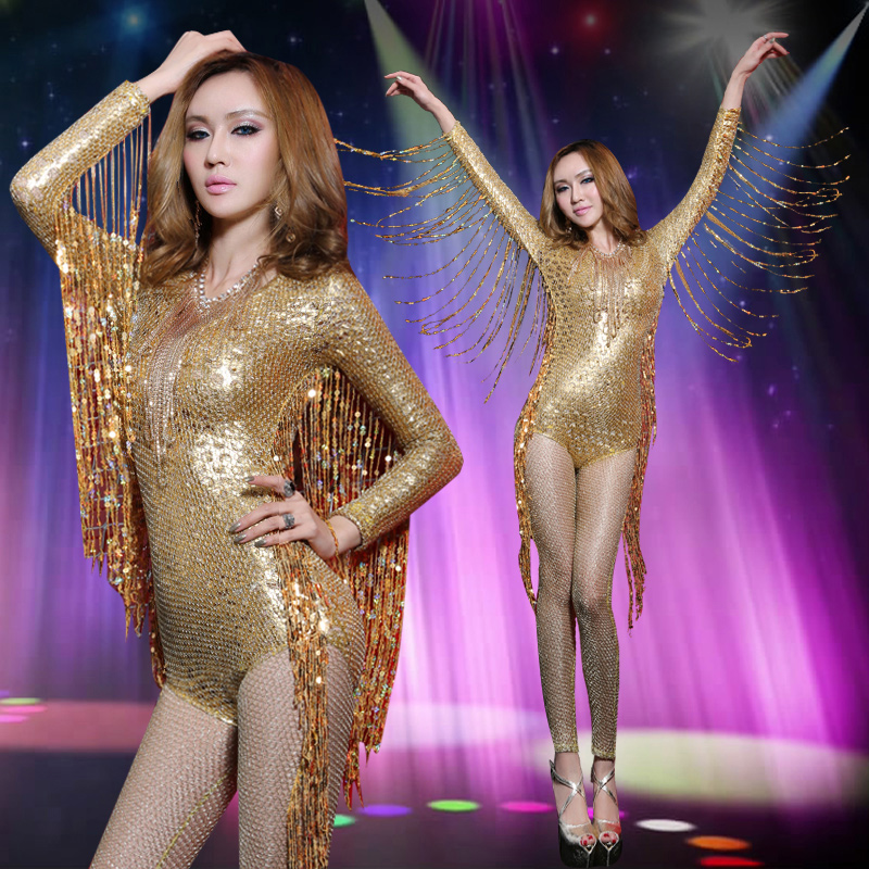 Ballet dance according to tassel sequins clubs performing service bar singer lead dancer sexy costumes Siamese 8416(China (Mainland))