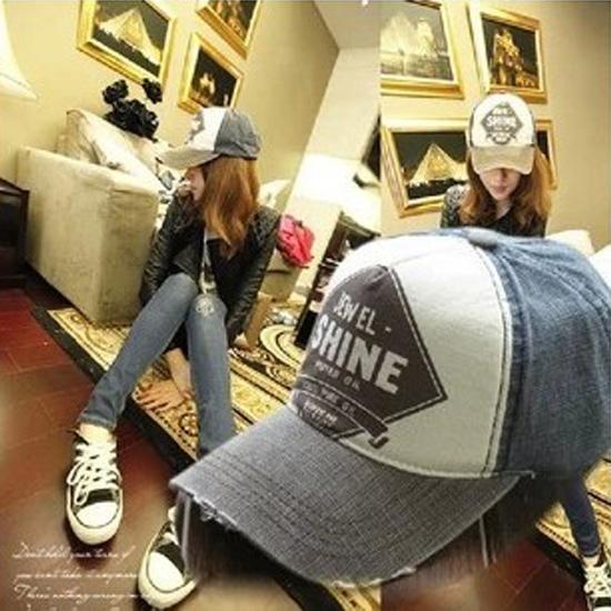 Lovers shine baseball cap hat male women's summer sun-shading sunscreen sun hat denim cap(China (Mainland))