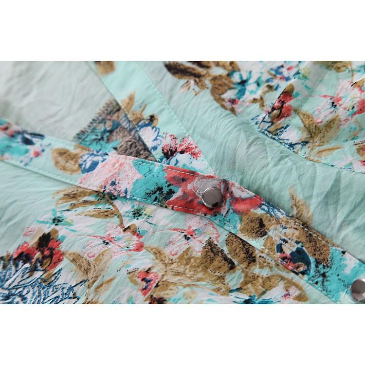 new 2014 v-neck blouse flower printed plus size roupas femininas blusas femininas 2014 chiffon shirt women B11 SV001942(China (Mainland))
