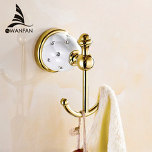 New Design Robe Hook,Clothes Hook,Solid Brass Construction Golden finish bath hardware accessory home decoration 5201(China (Mainland))