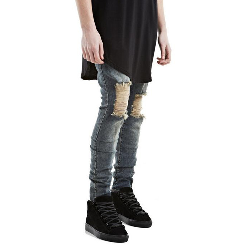 Fashion Men Torn Jeans Pants Famous Brand Designer Ripped Denim Joggers For Man Slim Fit Straight Distressed Jean Trousers LQ031
