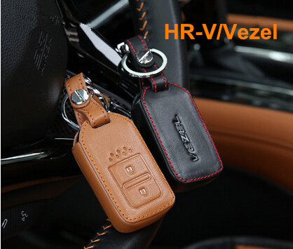 Free Shipping High Quality Genuine Leather 2 Colors Vezel Car Key Cover Wallet Case for Honda Vezel 2014 2015 accessories(China (Mainland))